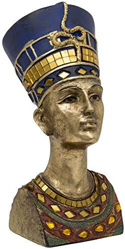 Maturi Gold Bust Nefertiti The Great Royal Wife of Akhenaten Free Standing Head – 7-Inch 18cm