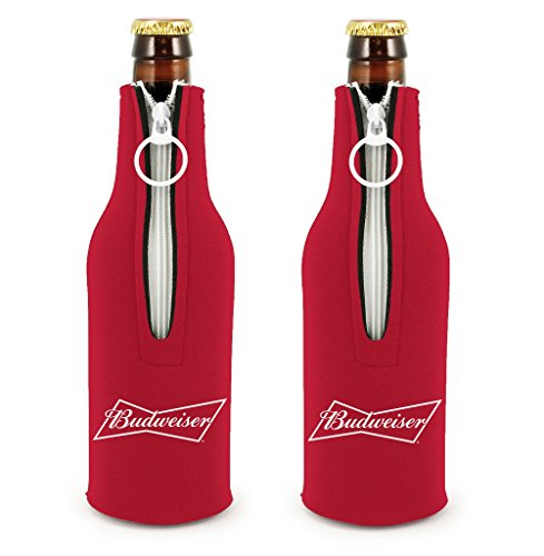 Officially Licensed Budweiser Bottle Suit Neoprene Beer Huggie Cooler Zipper Sleeve (2) - Budweiser Bottle