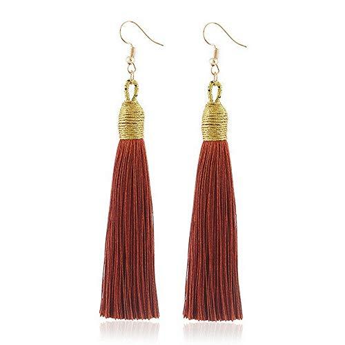 Wausa Elegant Bohemian Women Long Tassel Fringe Drop Dangle Earrings Ear Stud Jewelry | Model ERRNGS - 6854 |