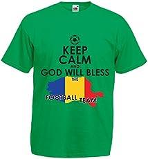 f5468b72e90bd N4515 T Shirts for Men Keep Calm and God Will Bless The Romanian Football  Team (Medium Green Multi Color)