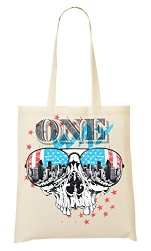 One Way Old school Collection USA flag Stars Stripes Creepy Skull Biker Style Bolso De Mano Bolsa De La Compra