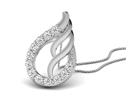 Or Blanc 14 ct Pendentifs Diamant en forme de Feuille, 0.22 Ct Diamant, GH-SI, 0.86 grammes.
