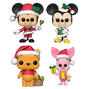 Funko Pop! Disney: Christmas Holiday – Mickey Mouse with Bell, Minnie Mouse Caroling, Winnie The Pooh as Santa and Piglet with Present – Set of 4 Vinyl Figures