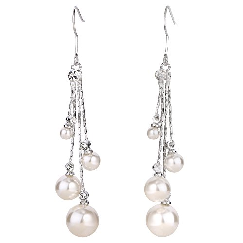 (EleQueen Women's Silver-tone Crystal Simulated Pearl 4 Chain Bridal Long Dangle Hook Earrings Ivory Color )