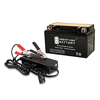 YTZ10S 12V 8.6AH Battery for YAMAHA YZF-R1 '04-09 + 12V 2Amp Charger - Mighty Max Battery brand product