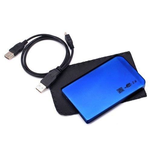 "Importer520 2.5"" USB 2.0 to SATA Hard Drive HDD Aluminum External Case Enclosure 500GB, Blue, 2.5 inch"