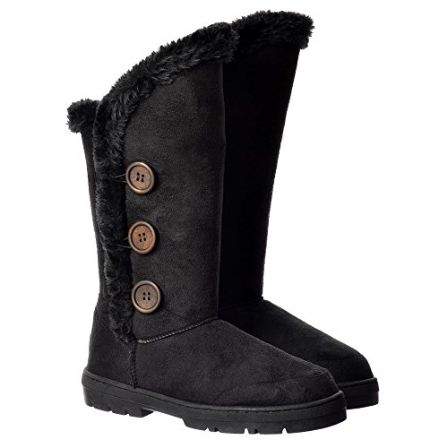 Fur Flat Boot Triple Winter Lined Button Black 3 qvwxa1EU