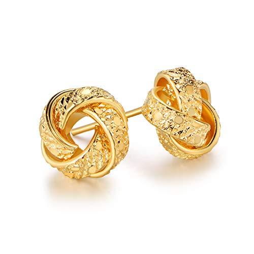 Barzel 18K Gold Plated Gold 8mm Texture Love Knot Stud Earrings