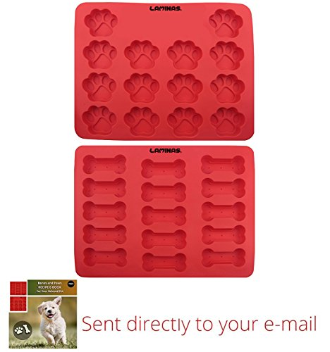 Silicone Paws and Bones Pan | 2 Pack FDA Food Grade | Puppy Silicone Baking Molds | Large Ice Cube Trays | Red | 100% Certified BPA Free | with - That Start Brands With F