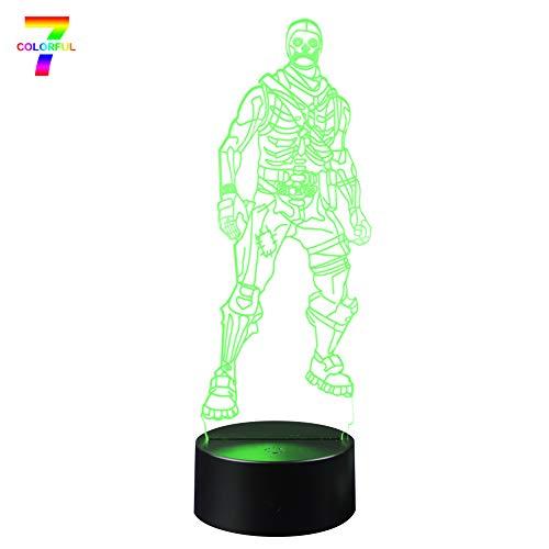 Trooper Base - Skull Trooper 3D Lamp LED Fortress Skin Battle Royale 3D Lights 7 Color Changing for Bedroom Home Decor Grandson Party Gift Toys (Skull Trooper Black Base)