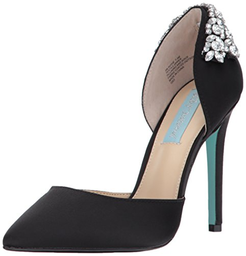 Blue by Betsey Johnson Women's SB-Rosie D'Orsay Pump, Black Satin, 9.5 M US by Betsey Johnson