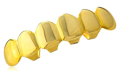 Hip Hop Gold-plated Removable Upper Mouth Grillz (Custom Costume Hip Hop Jewelry)