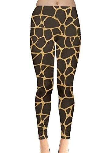 CowCow Womens Brown A Brown and Yellow Giraffe Leggings, Brown - XL ()