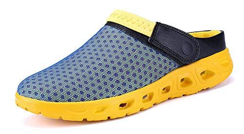 Yooeen Mens Womens Mesh Sandals Garden Clog Shoes Breathable Summer Indoor Outdoor Slippers Lightweight Walking Beach Sports Sandals, Blue+yellow, 8.5 Women / 7 Men