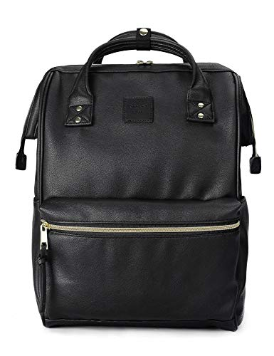 Black Leather Backpack - Kah&Kee Leather Backpack Diaper Bag with Laptop Compartment Travel School for Women Man (Black, Large)