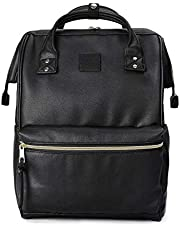 Kah&Kee Leather Travel Notebook Backpack Laptop School Diaper Bag for Women Man