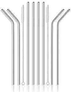 "Reusable Stainless Steel Drinking Straws - Set of 8 Extra Long 10.5"" Metal Straws for 30 32 40 Ounce Tumblers Ramblers Cups and Bottles - with 2 Cleaning Brushes"