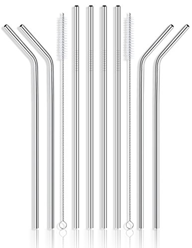 Reusable Stainless Steel Drinking Straws - Set of 8 Extra Long 10.5