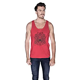 Creo Open Skull Bikers Tank Top For Men - S, Pink