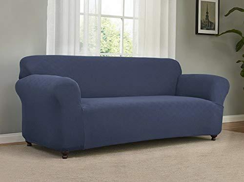 Dokis Stretch Checkerboard Sofa Slipcover Blue | Model SF - - Slipcover Rib Loveseat