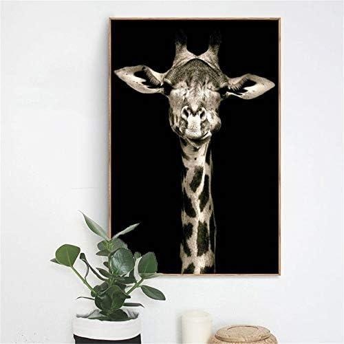 動物の絵画のポスターとキャンバスにプリント壁の絵画リビングルームのホームデコレーションかわいいキリン写真50×70センチなしフレーム