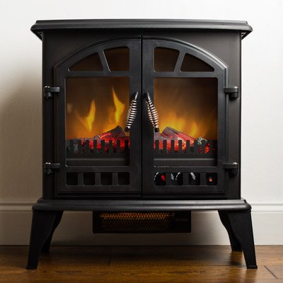 Jasper Free Standing Electric Fireplace Stove - 25 Inch Black Portable Electric Vintage Fireplace with Realistic Fire and...