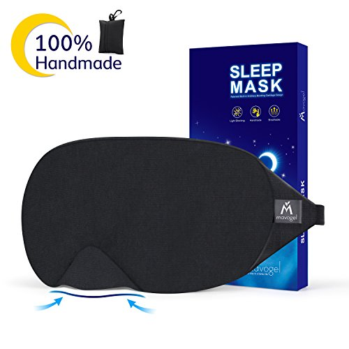 Cotton Sleep Eye Mask - 2018 New Design Light Blocking Sleep Mask, Includes Travel Pouch, Soft, Comfortable, Blindfold, 100% Handmade, Best Blinder for Travel/Sleeping/Shift Work/Meditation,Black