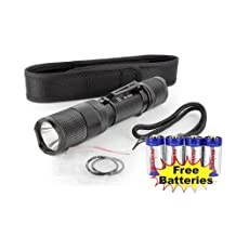 Combo: PowerTac E5 LED Flashlight with CREE XM-L LED 950Lumens New Version + 4 Tenergy CR123A Batteries