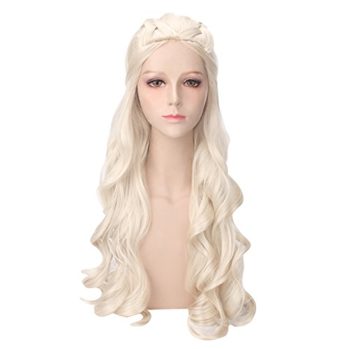 Daenerys Targaryen Cosplay Wig for Game of Thrones Season 7 - Khaleesi Costume Hair Wig (Light blonde) -