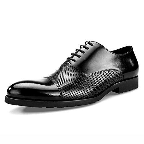 hueco puntiagudo únicos Zapatos de Negro Negro de hombres estilo negocios Zapatos Zapatos Clásicos Piel de Tamaño para cuero de los transpirable de de Zapatos Hombre cuero británico primavera de Color qv1qwH
