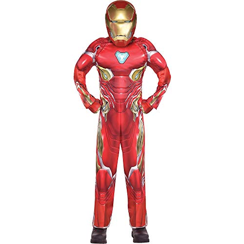 Costumes USA Avengers: Infinity War Iron Man Muscle Costume for Boys, Size Small, Includes a Jumpsuit, Mask, and Gloves