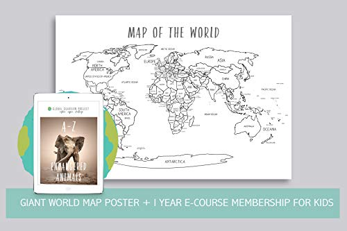 Global Guardian Project Giant World Map Coloring Poster - Educational Activity and Artwork for Kids - Great Gift for Teacher - Montessori Style Classroom Poster