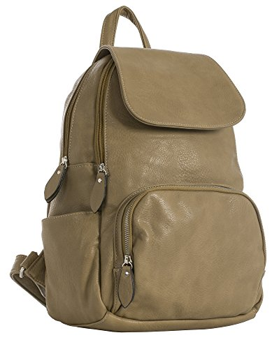Vegan Unisex Leather Faux Handbag Backpack Size Opening Flap Shoulder Bag Big Medium Shop Medium Plain Taupe EwFqtyA
