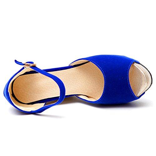 Peep à Toe Brillant Cheville et Femmes Bride de Simple Talons Compensees UH Sandales Boucle Confortables Bleu 4zCxqwgq
