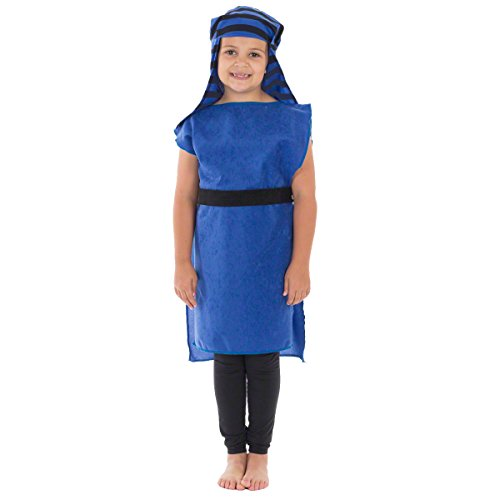 Charlie Crow Christmas Shepherd Nativity Costume for Kids 3-9 Years | Blue & Black