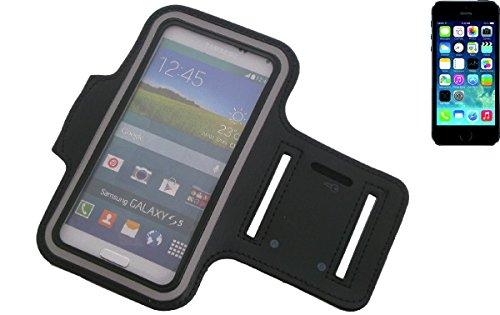 Fit Neopren Jogging Armband / Sportarmband / Sport Hülle / Sport Case / Oberarmband für Apple iPhone 5s in schwarz, mit Reflektor Streifen. Universell einsetzbares Fitness Armband für den Outdoor Gebr