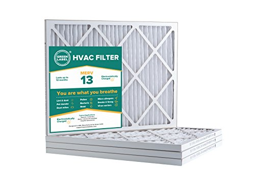 Green Label HVAC Air Filter 16x20x1, AC Furnace Air Ultra Cleaning Filter MERV 13 - Pack of 4