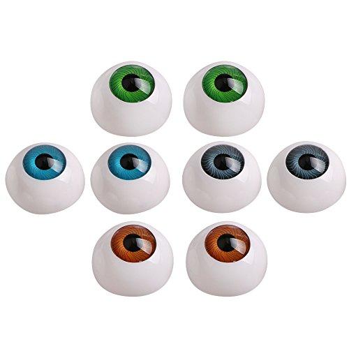 8pcs 26mm Half Round Eyeball Eyes for DIY Craft Doll Bear Dollhouse Decor ()