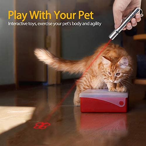 FYNIGO Cat Interactive Toys Wand,USB Rechargeable,4 in 1 Function,Pet Training Tool for Exercise with a Sisal Mouse 7