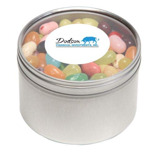 Jelly Belly Candy in Lg Round Window Tin-bundles of 250,500,1000,2500 per package