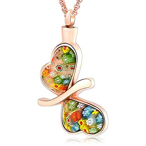 (Hearbeingt Memorial Pendant, Charming Murano Glass Butterfly Cremation Urn Necklace for Ashes, Keepsake Jewelry Come with Filling Kit, Rose Gold)