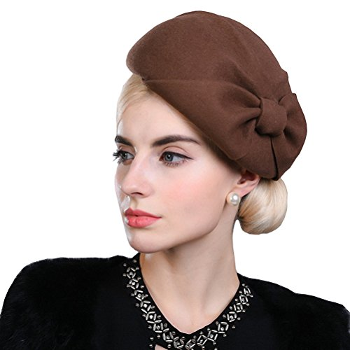 Maitose Women's Autumn And Winter Bow Wool Beret Coffe Camel