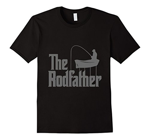 Men's Funny Fishing THE RODFATHER T-shirt Perfect gift for men XL Black