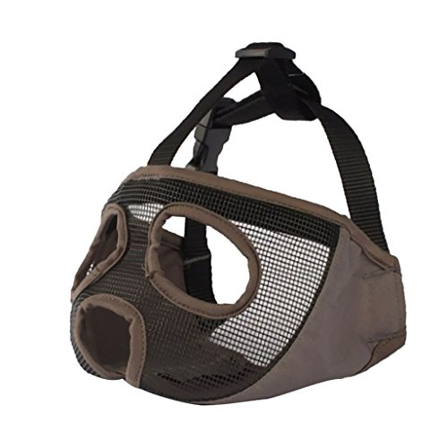 Muzzle Pug Nose - MagiDeal Short Nose Dog Mesh Muzzle For Pugs Bulldogs and Flat Faced Dogs - Gray S