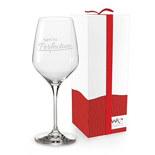 Funny Gift-able 18.5 oz Wine Glass in a Ready-to-Gift Box, 'Aged to Perfection' for Christmas, Birthdays, Mother's Day, Father's Day, BFFs, more (Wine Birthday Gift)