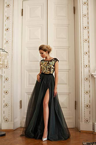 (Phoenix, evening dress, A-line, black, gold, handmade embroidery)