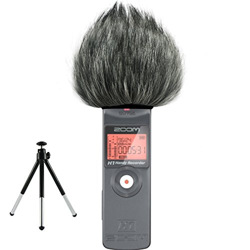 First2savvv TM-H1-E01 Outdoor Portable Digital Recorders Furry Microphone Mic Windscreen Wind Muff for Zoom H1 Recorder + mini tripod by first2savvv