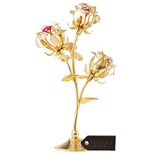 Elegant Flower (Matashi Rose Flower Tabletop Ornament w/Clear Crystals, Long-Stem, Metal Decorative Home Décor | Elegant Craftsmanship (3 Roses, Gold))