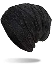 Winter Beanie Hat Men Warm Knit Long Slouch Skull Cap Thermal with Soft Fleece Lining