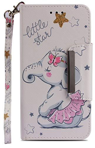 Wiitop Compatible Samsung Galaxy J7 2018 Case,Galaxy J7 Aero/J7 Star/J7 Top/J7 Crown/J7 Aura/J7 Refine/J7 Eon Case, Leather Wallet Wrist Strap Flip Full Body Protective Cover Stand Skirt Baby Elephant